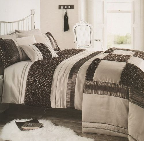 BROWN & NATURAL COLOUR STYLISH RUFFLED SEQUIN DUVET COVER LUXURY BEAUTIFUL BEDDING